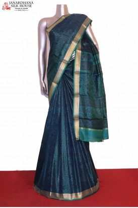 Floral Blue Printed Pure Silk Saree