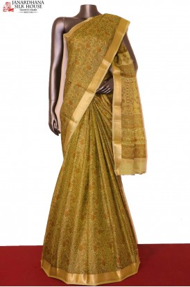 Green Floral Printed Pure Silk Saree