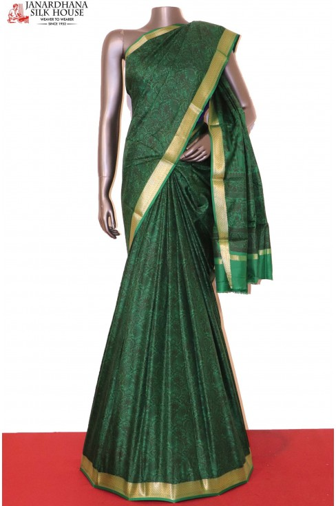 Floral Green Printed Pure Silk..