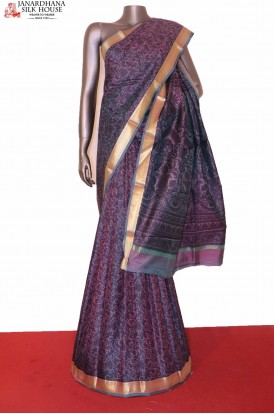 Floral Purple Printed Pure Silk Saree