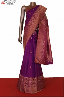 Designer & Exclusive Gold Silver Kanjeevaram Silk Saree