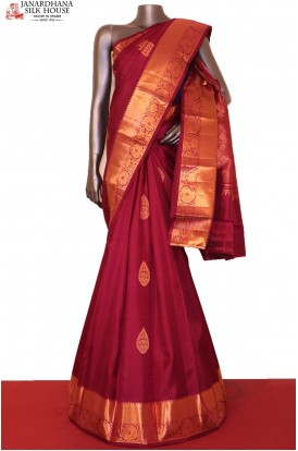 Grand Copper Zari Wedding Kanjeevaram Silk Saree
