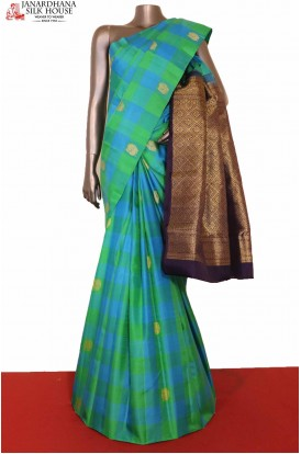 Checks Kanjivaram Silk Saree-A..