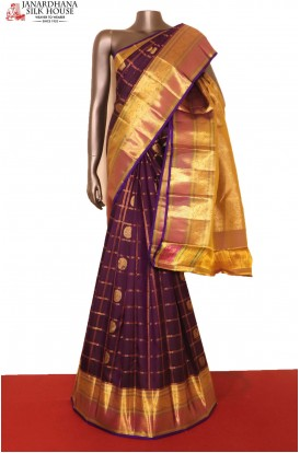 Grand Zari Checks Zari Butta Exclusive Wedding Kanjeevaram Silk Saree