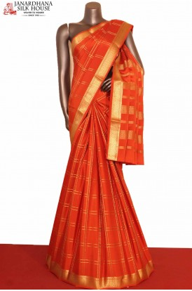 Orange Checks Mysore Crepe Silk Saree