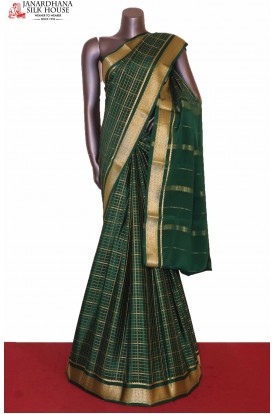 Checks Bottle Green Mysore Crepe Silk Saree