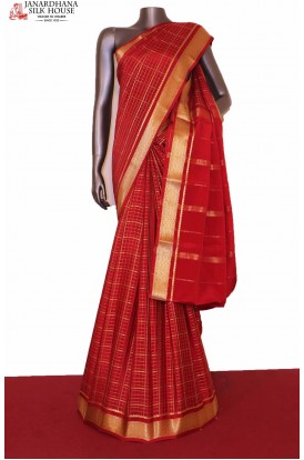 Red Checks Mysore Crepe Silk Saree