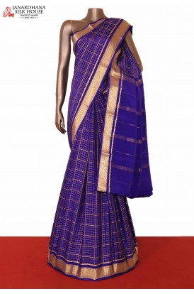 Checks Mysore Crepe Silk Saree