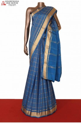 Blue Checks Mysore Crepe Silk Saree