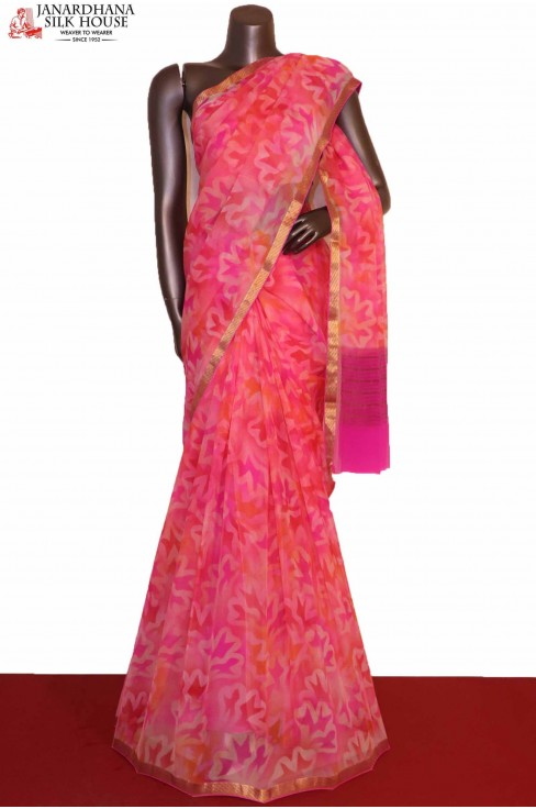 Pink Pure Chiffon Silk Saree..