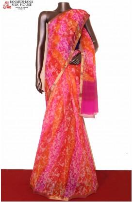 Multicolor Exclusive Pure Chiffon Silk Saree