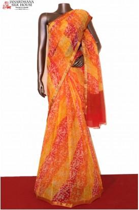 Exclusive Multicolor Pure Silk Chiffon Saree