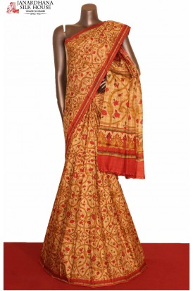 Exquisite Printed Silk Saree