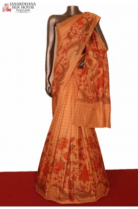 Checks & Printed Pure Silk Saree