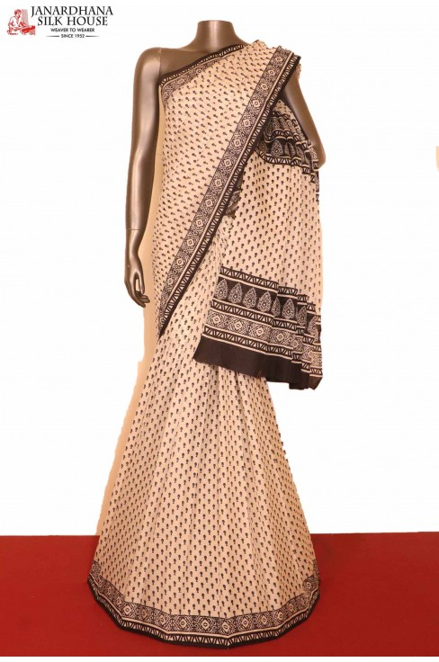 Black White Printed Silk Saree..