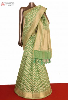 Green Handloom Banarasi Cotton
