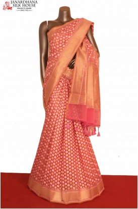 Pink Handloom Pure Banarasi Cotton Saree