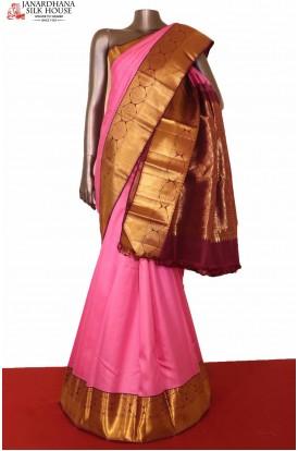 Stunning Pink Kanjeevaram Silk Saree
