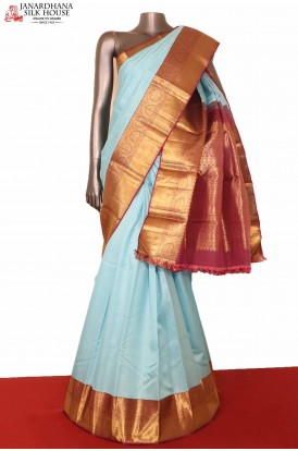 Wedding  Blue Kanjeevaram Silk Saree