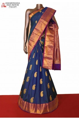 Greand Peacock Blue South Indian Silk Saree