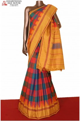 Checks Temple Kanjivaram Silk Saree