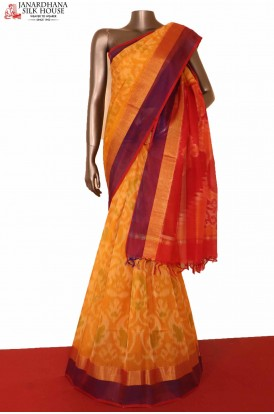 Handloom Yellow Pochampally Silk Cotton Saree