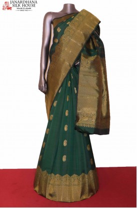Bottle Green Wedding Kanjivaram Silk Saree