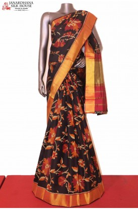 Exquisite Black Ikat Patola Silk Saree