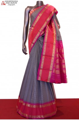 Black White Checks Kanjivaram Silk Saree