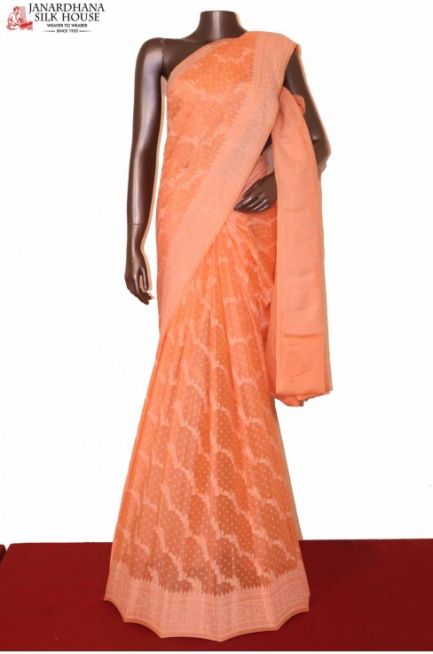 Peach Pure Crepe Silk Saree..