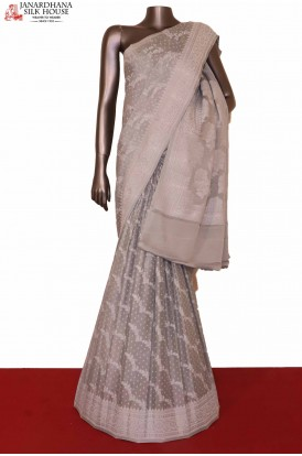 Grey Crepe Silk Saree