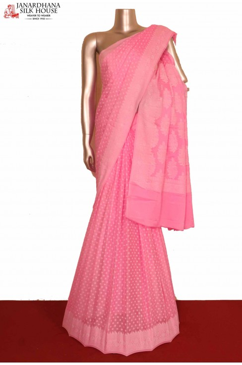 Pink Pure Crepe Silk Saree..