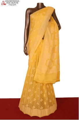 Yellow Pure Crepe Silk Saree
