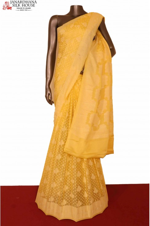 Yellow Pure Crepe Silk Saree..
