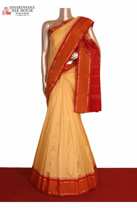 Contrast Temple South Silk Saree
