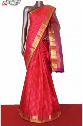 Zari Checks Pink Kanjeevaram Silk Saree