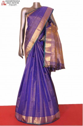 Vaira Oosi Butta Blue Kanchipuram Silk  Saree