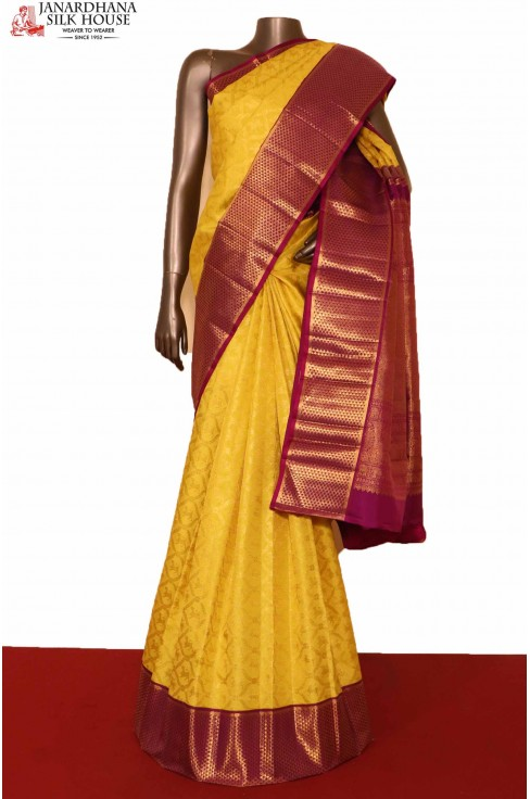 Yellow Kanchipuram Bridal saree