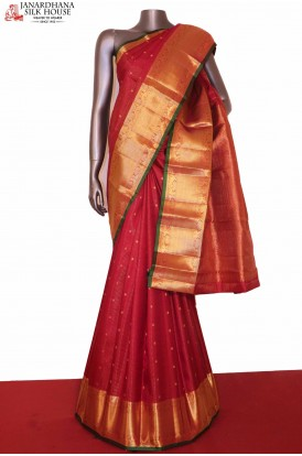 Bridal Red Kanjeevaram Wedding Silk saree