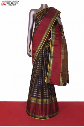 Exclusive Black Kanjeevaran Wedding Silk saree