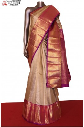 Gold Silver Exclusive Bridal Kanjeevaram Silk Saree