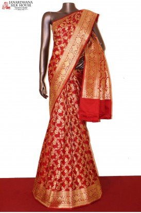 Exquisite Satin Banarasi Wedding Silk Saree