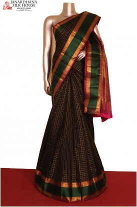Exquisite Black Checks Kanjivaram Silk Saree