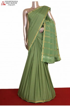 Zari Checks Mysore Crepe Silk Saree