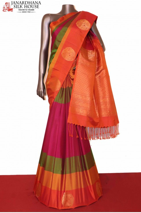 Designer Peacock Soft Silk Sar..
