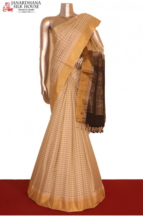 Checks Contrast Soft Silk Sare..