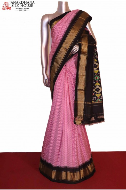 Pink & White Ikat Patola Silk Saree