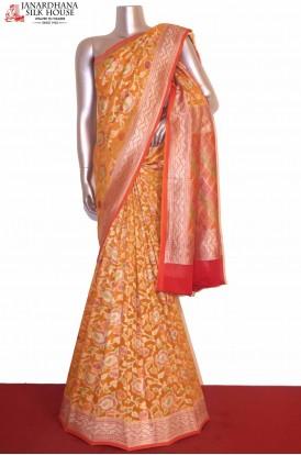 Designer Brush Paint Banarasi Georgette Silk Saree