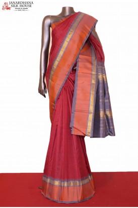 Checks & Temple Kanjeevaram Silk Saree