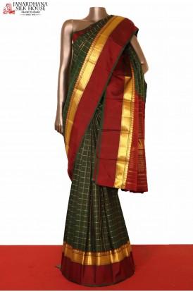 Bottle Green Kanjeevaram Silk Saree